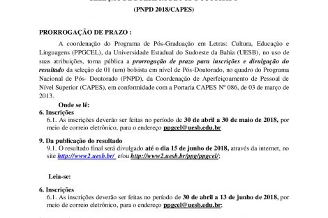 Prorrogação da Chamada_pública - 001-2018 - PNDPPPGCEL-001