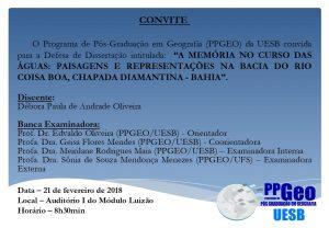 Primeira Banca de Defesa de Dissertação do PPGEO/UESB – Mestranda Débora Paula de Andrade Oliveira