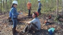 Juliana Messias, mestre em Ciências Florestais, realizando pesquisa de camp.